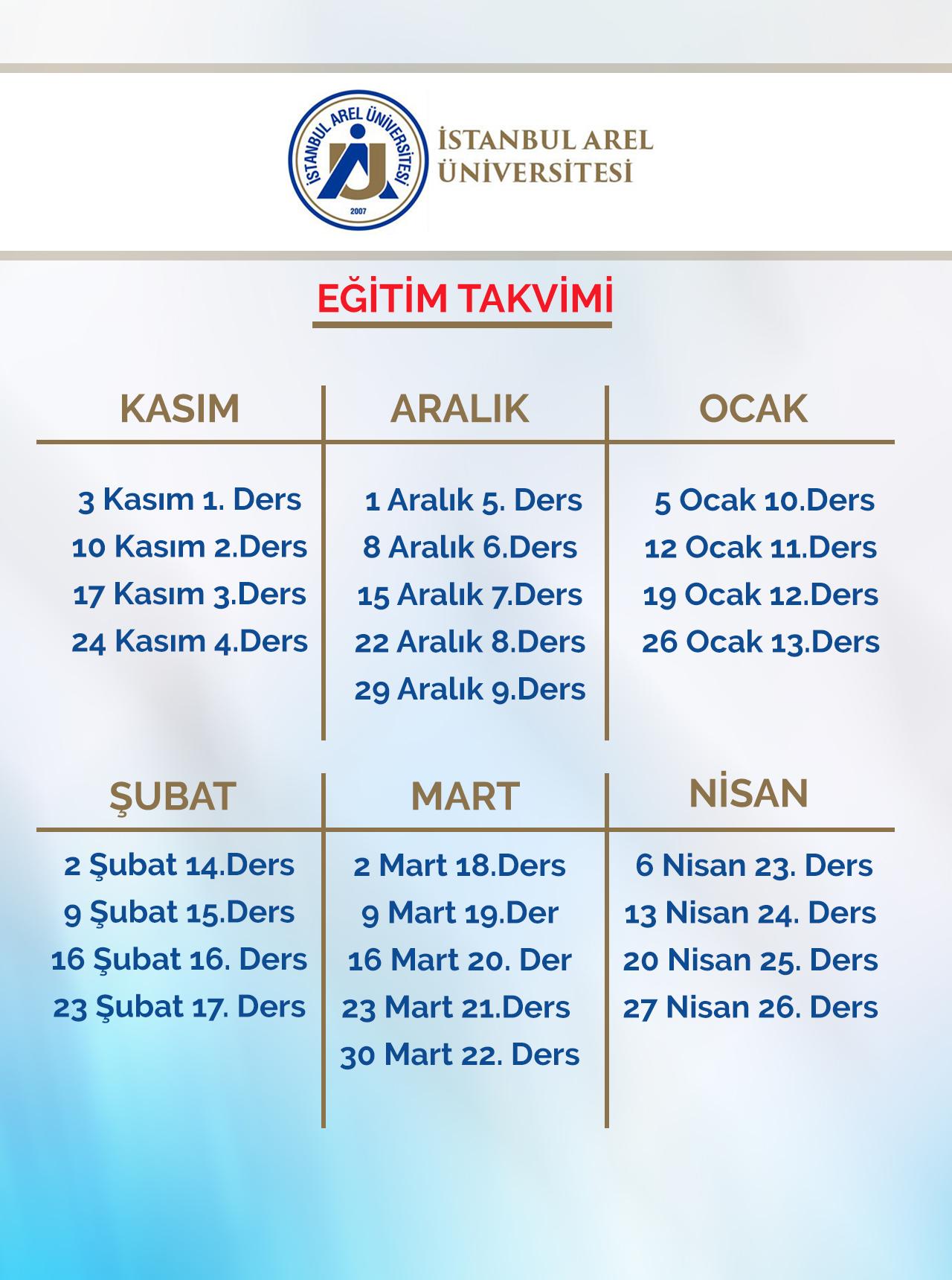 Istanbul Arel Üniversitesi Faaliyet Takvimi